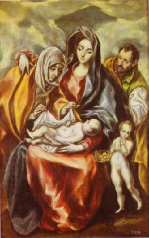 Mannerism painting reproductions: The Holy Family 1594-1604
