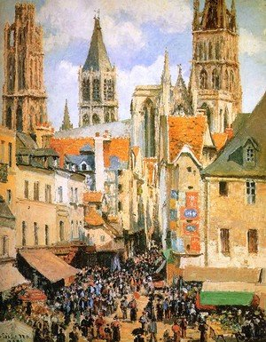 Famous paintings of Squares and Piazzas: The Old Market at Rouen  1898