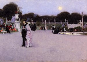 Famous paintings of Squares and Piazzas: In The Luxembourg Gardens