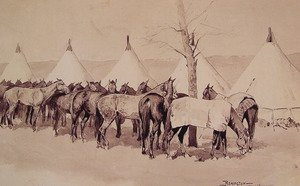 Famous paintings of Wild West: A Troop Picket Line Of The Sixth United States Cavalry Camp At Rapid Creek