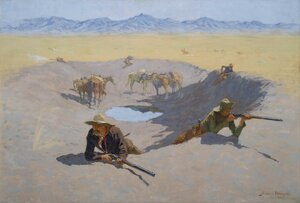 Famous paintings of Wild West: Fight For The Water Hole
