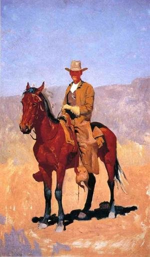Famous paintings of Horses & Horse Riding: Mounted Cowboy In Chaps With Race Horse