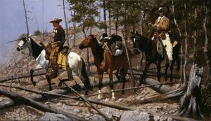Famous paintings of Horses & Horse Riding: Prospecting For Cattle Range