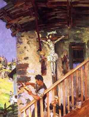 Reproduction oil paintings - Sargent - A Tyrolese Crucifix