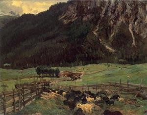 Famous paintings of Palisades: Sheepfold In The Tirol