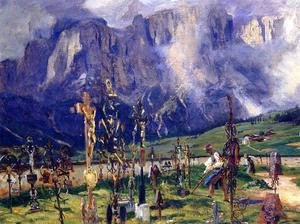 Famous paintings of Cemeteries: Graveyard In The Tyrol