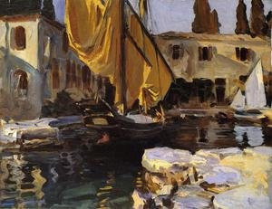 Famous paintings of Ports: Boat With The Golden Sail  San Vigilio