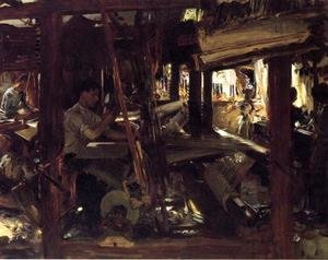 Famous paintings of Studios and Workshops: Granada  The Weavers