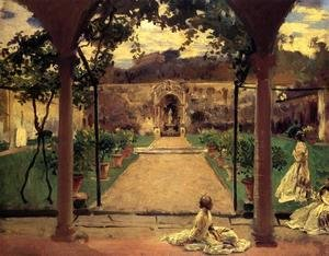 Reproduction oil paintings - Sargent - At Torre Galli  Ladies In A Garden