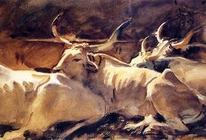 Reproduction oil paintings - Sargent - Oxen In Repose