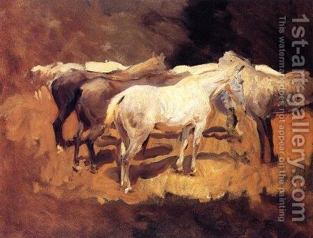 Sargent: Horses At Palma - reproduction oil painting