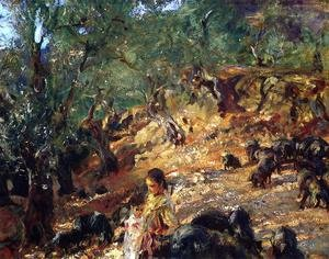 Reproduction oil paintings - Sargent - Ilex Wood At Majorca With Blue Pigs
