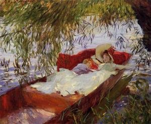 Famous paintings of Ships & Boats: Two Women Asleep In A Punt Under The Willows