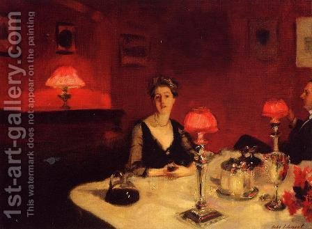 Sargent: A Dinner Table At Night - reproduction oil painting