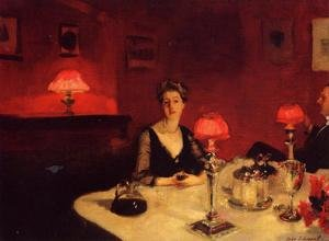 Famous paintings of Portraits: A Dinner Table At Night