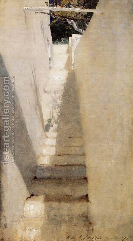 Sargent: Staircase In Capri - reproduction oil painting