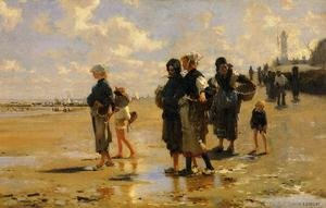Famous paintings of Clouds & Skyscapes: The Oyster Gatherers Of Cancale