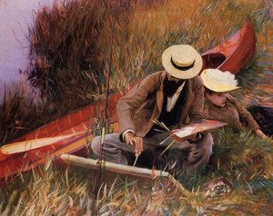 Reproduction oil paintings - Sargent - Paul Helleu Sketching With His Wife