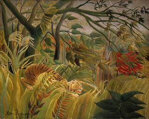 Famous paintings of Rainforests & Jungles: Tiger In A Tropical Storm   Surprised