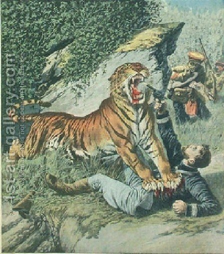 Attacked By A Tiger Jpg by Henri Julien Rousseau - Reproduction Oil Painting