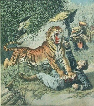 Famous paintings of Rainforests & Jungles: Attacked By A Tiger Jpg