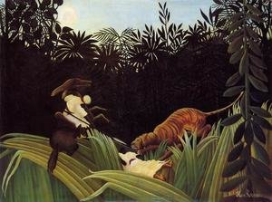 Famous paintings of Rainforests & Jungles: Scout Attacked By A Tiger