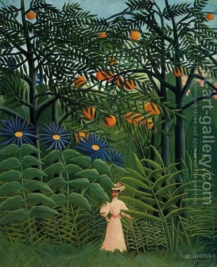 Woman Walking In An Exotic Forest by Henri Julien Rousseau - Reproduction Oil Painting