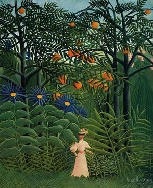 Famous paintings of Rainforests & Jungles: Woman Walking In An Exotic Forest