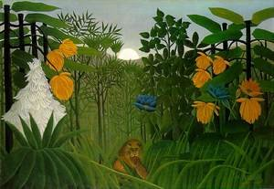 Famous paintings of Rainforests & Jungles: The Repast Of The Lion