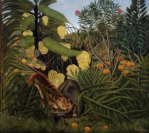 Famous paintings of Rainforests & Jungles: Fight Between A Tiger And A Buffalo