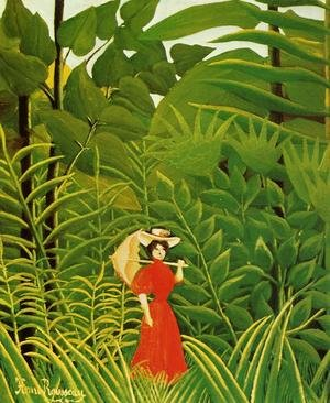Famous paintings of Rainforests & Jungles: Woman With An Umbrella In An Exotic Forest