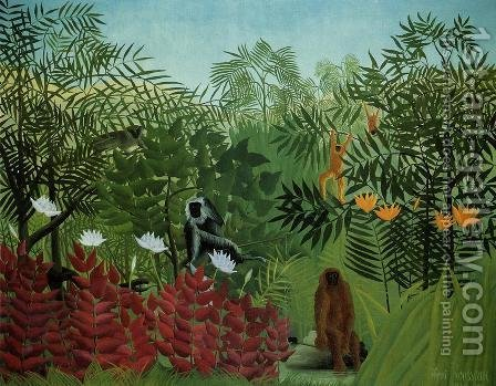 Tropical Forest With Apes And Snake by Henri Julien Rousseau - Reproduction Oil Painting