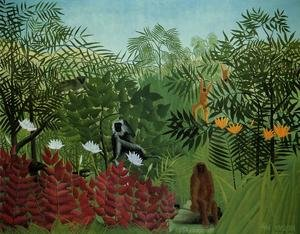 Famous paintings of Rainforests & Jungles: Tropical Forest With Apes And Snake
