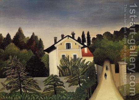 Landscape On The Banks Of The Oise Area Of Chaponval by Henri Julien Rousseau - Reproduction Oil Painting