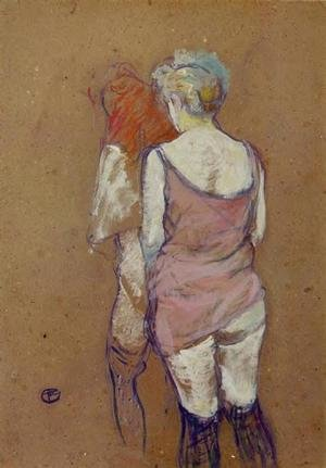Reproduction oil paintings - Toulouse-Lautrec - Two Half Naked Women Seen From Behind In The Rue Des Moulins Brothel