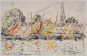 Pointillism painting reproductions: Fisihing Boats