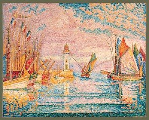 Pointillism painting reproductions: Lighthouse Groix