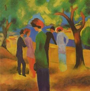 Reproduction oil paintings - August Macke - A Woman In Green Jacket
