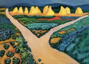 Reproduction oil paintings - August Macke - Vegetable Fields