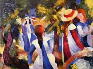 Expressionism painting reproductions: Girls In The Forest