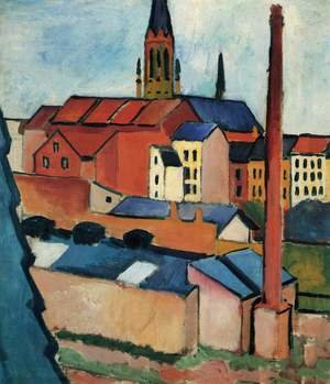 Expressionism painting reproductions: Houses With A Chimney
