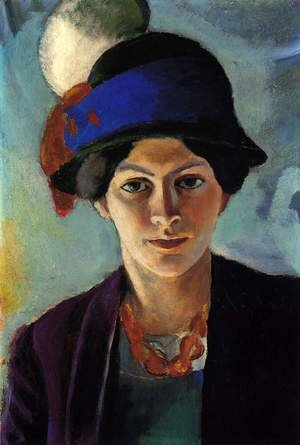 Reproduction oil paintings - August Macke - Portrait of the Artist's wife Elisabeth with a Hat (Frau des Kunstlers mit Hut)  1909