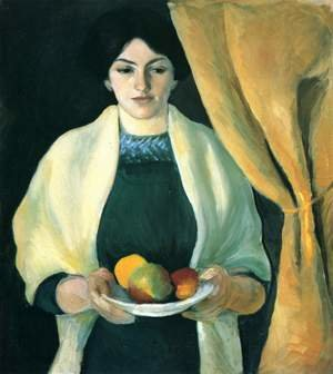 Famous paintings of Apples: Portrait with Apples- Wife of the Artist  1909