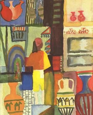Reproduction oil paintings - August Macke - Dealer With Pitchers