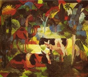 Expressionism painting reproductions: Landscape With Cows And Camel