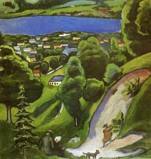 Reproduction oil paintings - August Macke - Tegernsee Landscape