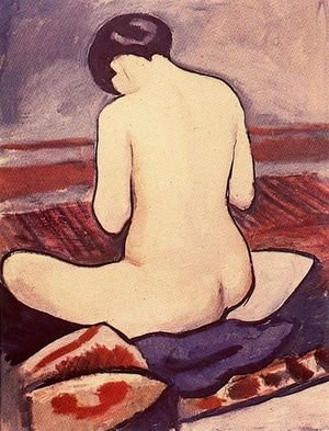 Expressionism painting reproductions: Sitting Nude with Cushions (Sitzender Akt mit Kissen)  1911