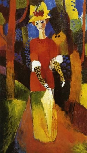 Reproduction oil paintings - August Macke - Womain In A Park