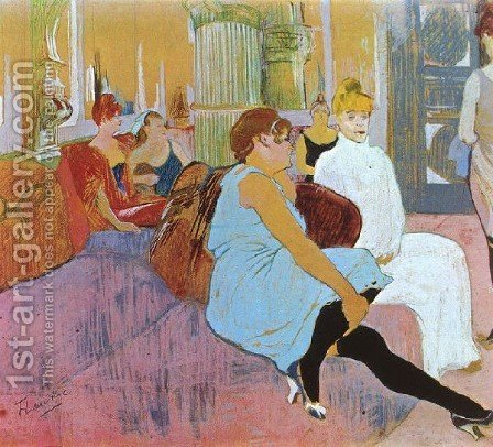 Salon In The Rue Des Moulins by Toulouse-Lautrec - Reproduction Oil Painting