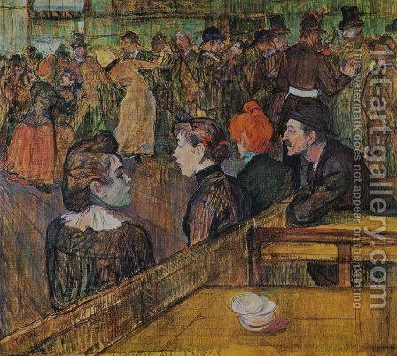 At the Moulin de la Galette 1889 by Toulouse-Lautrec - Reproduction Oil Painting
